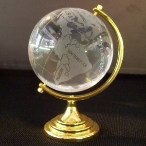 Crystal- Globe on Gold Stand