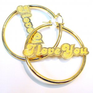 I Love You Hoop Earrings- Gold Filled