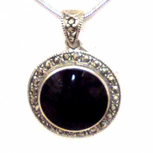 Onyx Round Sterling Silver Pendant