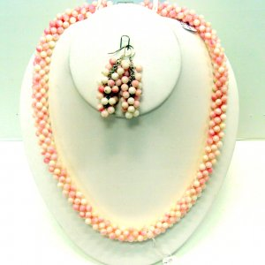 Pink Coral Necklace and Earrings Set