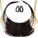 Fashion Necklace Set - Black Threaded