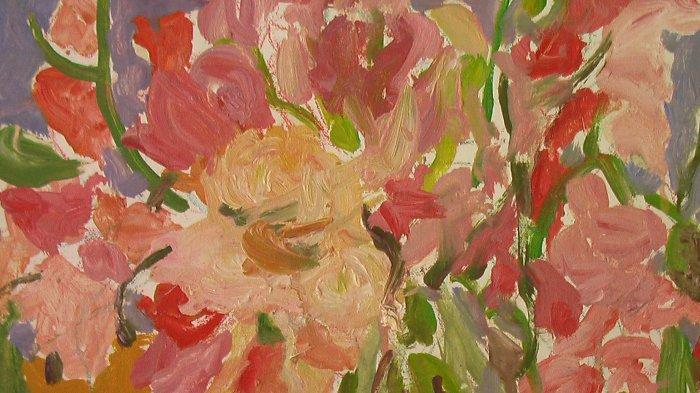 Vase of Sweet Peas Original Oil Painting By Carmel Artist Janet Ament de la Roche - Framed Artwork