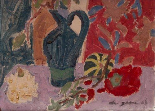Still Life with Gourdes By Carmel Artist Victor Di Gesu 1963 Original Oil Painting on Board