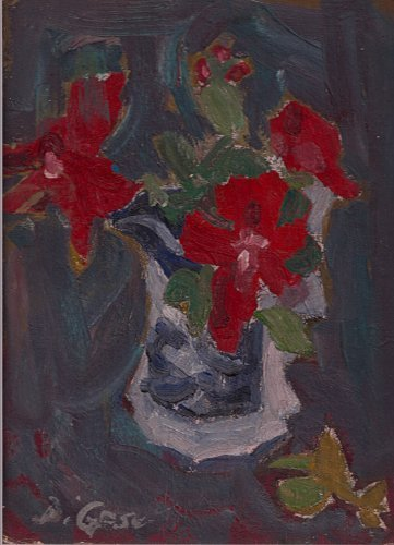 Red Roses in Blue Vase By Carmel Artist Victor Di Gesu Original Oil Painting 1960's