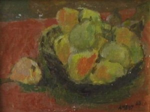 Pears By Carmel Artist Janet Ament De La Roche 1963 Original Oil on Board Painting - Framed Artwork