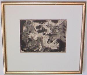 Erotic Scene By Carmel Artist Victor Di Gesu Ink & Pen on Paper (Newsprint) - Framed Artwork