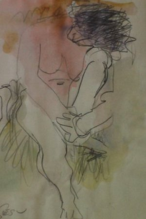 Figure, Watercolor and Pencil Drawing By Carmel Artist Victor Di Gesu - Framed Artwork