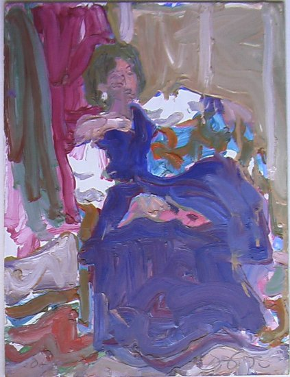 Woman in Purple By Carmel Artist Victor Di Gesu - Original Oil Painting