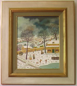 Farm In The Snow (Ferme Sous La Neige) By Alain Thomas, Oil Painting on Board - Framed Artwork