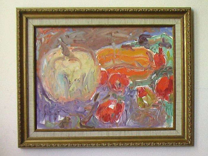 Pumpkin Still Life By Carmel Artist Janet Ament de la Roche, Oil Painting on Board - Framed Artwork