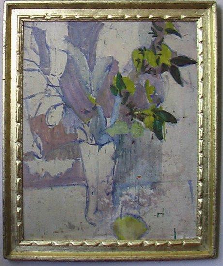 Light Mauve Still Life By Carmel Artist Victor Di Gesu, Oil Painting on Board - Framed Artwork