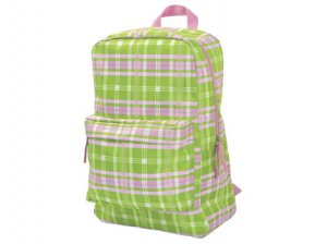 FREE SHIP Pink Green Plaid Backpack Diaper Bag by Room It Up / RoomItUp FREE SHIP USA