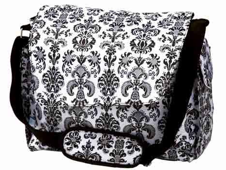 FREE SHIP Paris Black White Damask Diaper Bag by Room It Up / RoomItUp FREE SHIP USA