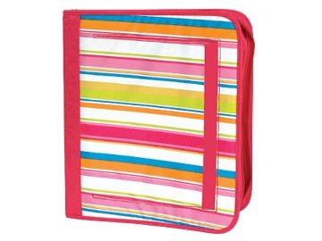 FREE SHIP Pink Preppy Stripe Notebook 3 Ring Binder by Room It Up / RoomItUp FREE SHIP