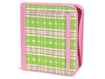 FREE SHIP Pink Green Plaid Notebook 3 Ring Binder by Room It Up / RoomItUp FREE SHIP USA