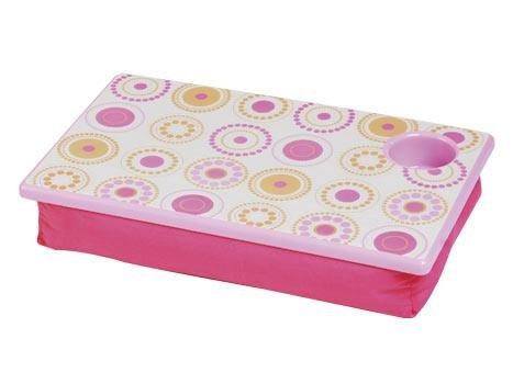 FREE SHIP Hot Pink Circle Polka Dot Lap Desk Tray Cup Holder by RoomItUp / Room It Up-FREE SHIP-USA