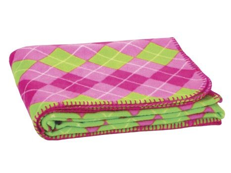 FREE SHIP Pink Green Argyle Fleece Blanket by RoomItUp / Room It Up FREE SHIP