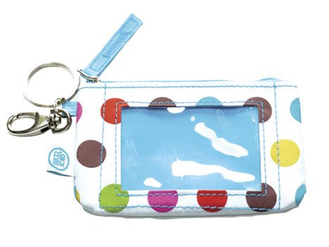 FREE SHIP Polka Dot ID Case Key Ring by RoomItUp / Room It Up FREE SHIP - USA
