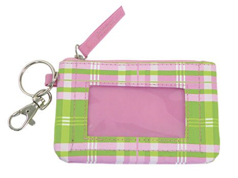 FREE SHIP Pink Green Plaid ID Case Key Ring by RoomItUp / Room It Up FREE SHIP - USA