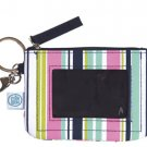 FREE SHIP Navy Pink Stripe ID Case Key Ring by RoomItUp / Room It Up FREE SHIP - USA
