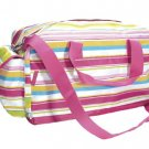 FREE SHIP Pink Preppy Stripe Duffle Bag Tote by RoomItUp / Room It Up FREE SHIP - USA