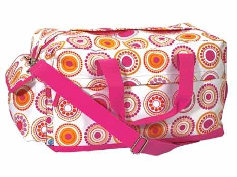 FREE SHIP Hot Pink Circle Polka Dot Duffle Bag Tote by RoomItUp / Room It Up FREE SHIP - USA