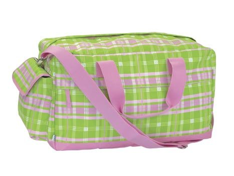 FREE SHIP Pink Green Plaid Duffle Bag Tote by RoomItUp / Room It Up FREE SHIP - USA