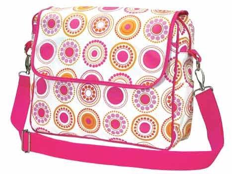 FREE SHIP Hot Pink Circle Polka Dot Messenger Bag Sling Diaper by RoomItUp / Room It Up USA