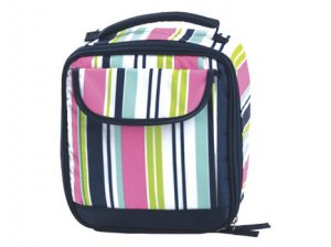 FREE SHIP Navy Pink Stripe Lunch Bag Tote by RoomItUp / Room It Up FREE SHIP - USA