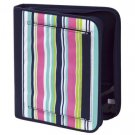 FREE SHIP Navy Pink Stripe Notebook 3 Ring Binder by Room It Up / RoomItUp FREE SHIP