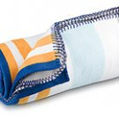 FREE SHIP Navy Orange Fleece Blanket by RoomItUp / Room It Up FREE SHIP - USA
