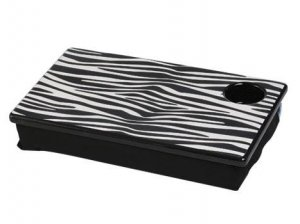 FREE SHIP Zebra Black White Lap Desk Tray Cup Holder by RoomItUp / Room It Up-FREE SHIP-USA