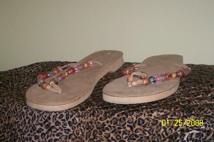 Women's Sandals  size 10 multicolor  beaded Thongs women size 10