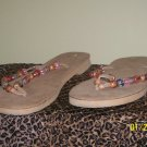 Women's Sandals  size 10 multicolor  beaded Thongs women size 10