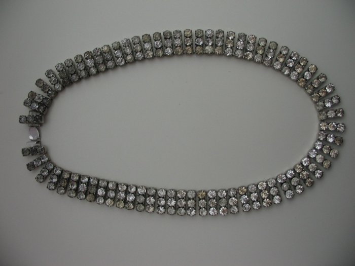 THREE ROW RHINESTONE NECKLACE