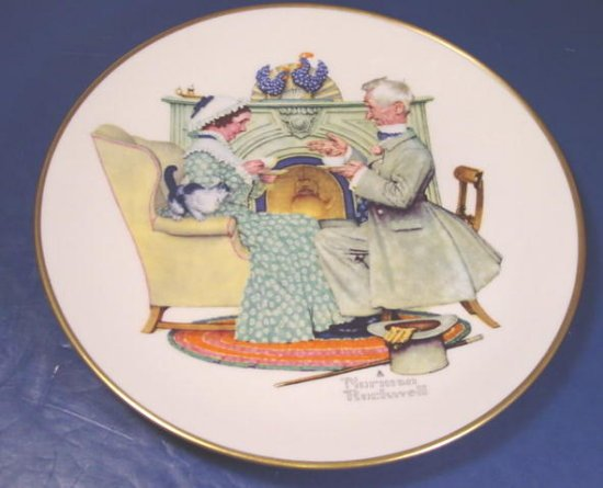 Norman Rockwell Gorham fine china Gaily Sharing Vintage Times winter plate 1973 Four Seasons series