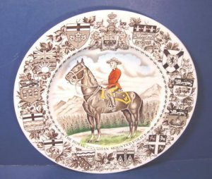 ROYAL CANADIAN MOUNTED POLICE PLATE WOOD and SONS BURSLEM ENGLAND, CANADA TERRITORY FLAG SHIELDS