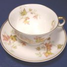 HAVILAND LIMOGES CHINA AUTUMN LEAF GOLD TRIM FRANCE FOOTED CUP AND SAUCER SET PORCELAIN