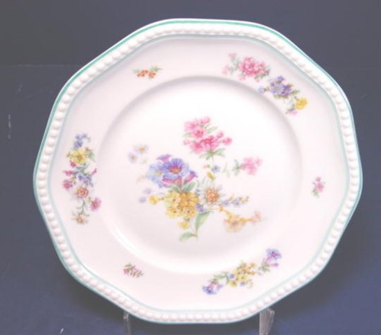 ROSENTHAL GERMANY LUNCHEON SALAD DESSERT CHINA PLATE SPRING FLOWERS PORCELAIN DISH BEADED EDGE
