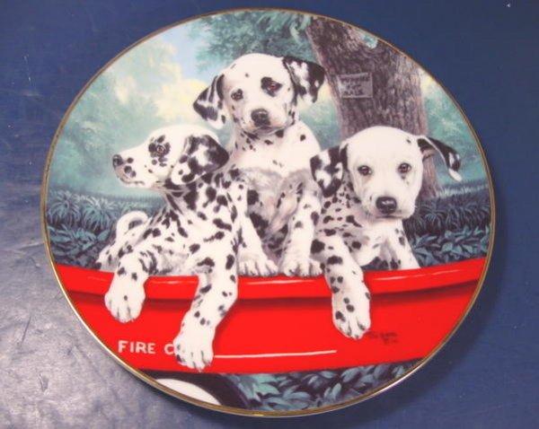 DALMATIAN DOG PRINCETON GALLERY THREE ALARM FIRE PORCELAIN PLATE 1992 DALMATION LINDA PICKEN F0006