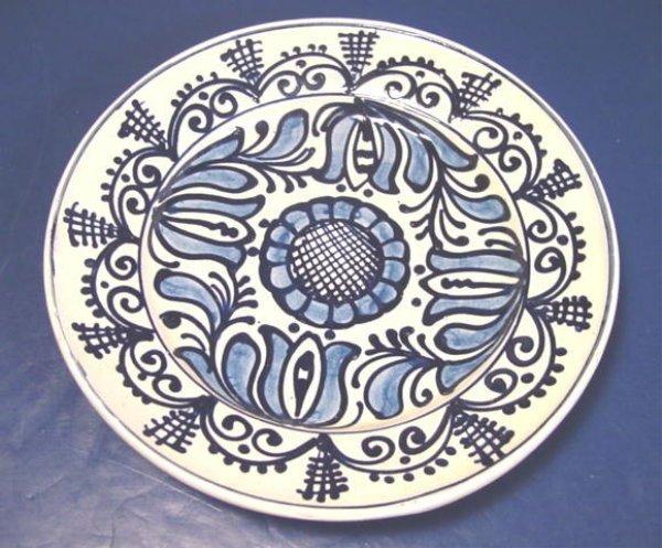 Korond Pottery Plate Blue White Handmade Transylvania