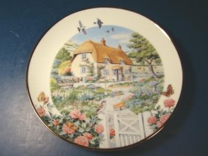 Rose Cottage plate Franklin Mint Peter Barrett vintage porcelain china Heirloom Recommendation