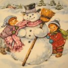 Avon A Childs Christmas collector plate 1986 porcelain china snowman kids 22k gold trim with box