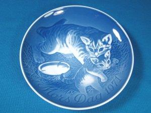 1971 Mother's Day B&G Bing and Grondahl Mors Dag 3rd plate Denmark blue white cat kitten