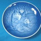 1982 Mother's Day B&G Bing and Grondahl Mors Dag plate Copenhagen Denmark blue white lion cubs