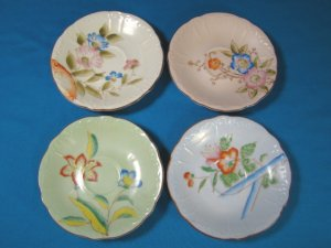 Occupied Japan saucers four plates handpainted flowers Royal Sealy 4 different dishes
