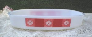 Vintage Federal Red and White Casserole Dish