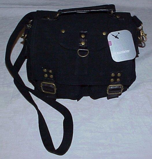 NO BOUNDARIES Black Canvas Cargo Organizer Pocket Purse Handbag