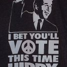 Bet You'll Vote This Time Hippy w/Bush & Peace Sign Dark Gray T-Shirt Size Large-Extra Large