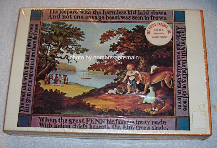 Vintage Two Sided 500 Piece Jigsaw Puzzle Peaceable Kingdom The White Flower Sealed 1970